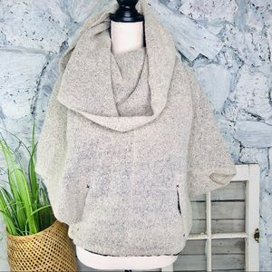 Sparrow Poncho Cowl Neck Wool Sweater Neutral S